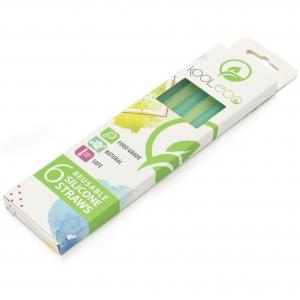 6 herbruikbare siliconen rietjes - Blauw & Groen